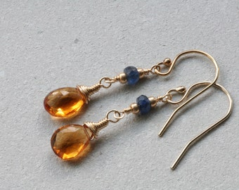 AAA Madeira Citrine and Blue Sapphire Earrings 14kt GF September Birthstone November Birthstone