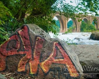SALE Richmond Railway Bridge Graffiti on James River, Richmond Virginia, Richmond Photo Art, Framed Photography Option