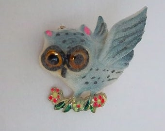 Frosted Blue Owl Pin
