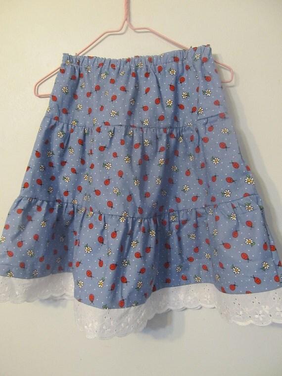 Girl's Skirt - Ruffle Skirt - Ladybug Skirt - Blue Skirt - Red Skirt -Kids Clothes - Kids Fashion - Back to School - Girl's dress - Size 5