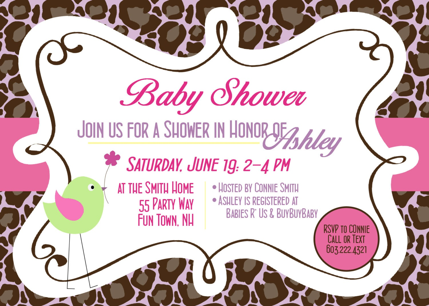 Pink And Leopard Baby Shower Invitations for amazing invitation design