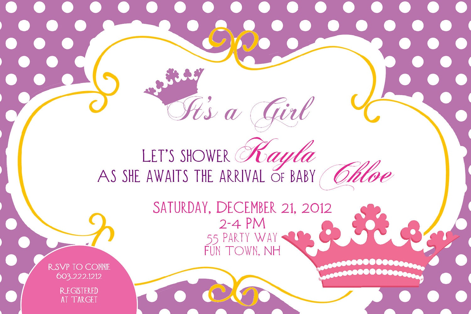 Princess Baby Shower Invitation Printable by AsYouWishCreations4u