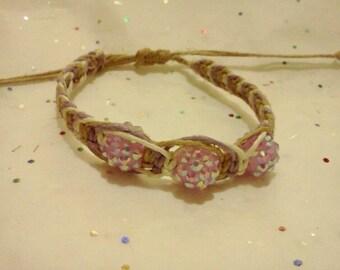 Hemp and purple rhinestone bracelet