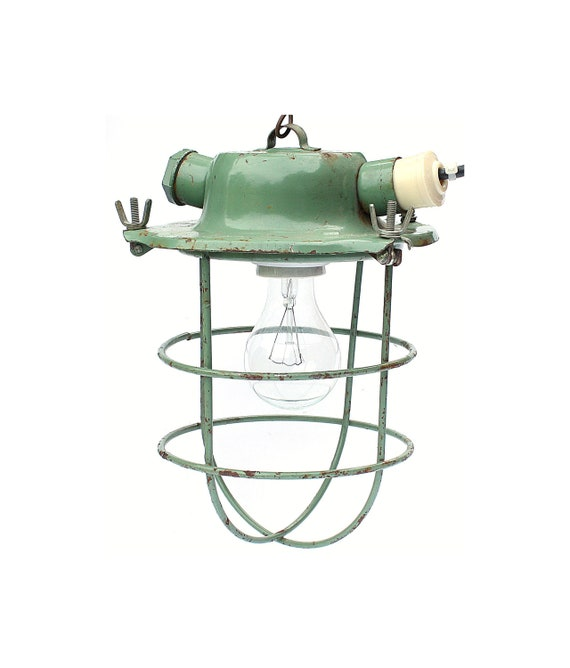 Huge Industrial light from Russia Soviet Union era mint green pendant light industrial metal lamp green tuquoise