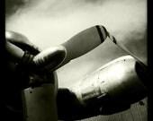 Vintage World War II Airplane Propeller Engines, Aviation, 10x10 Photograph, Vintage Airplane, Aircraft Wing, Airplane Decor