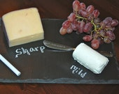 Rectangular Slate Cheese Board with Hand Stamped Knife- Perfect Wedding Gift