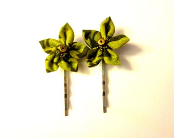 Holly Green Fabric Flower Bobby Pins (set of 2)