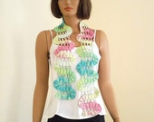 Crochet spring scarf  in spring colors, pink, green, blue and ivory, bambu yarn