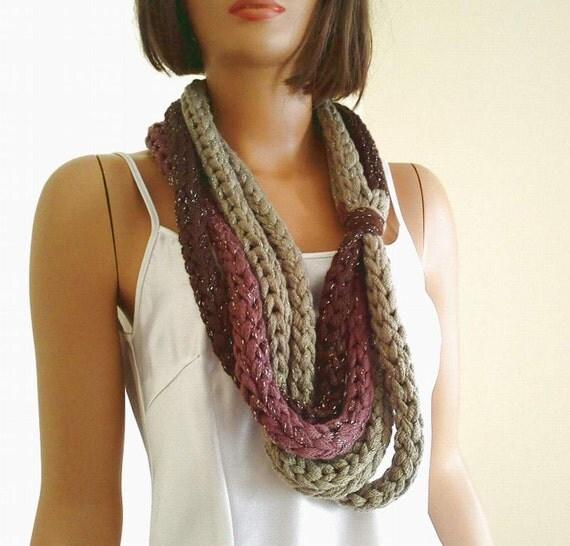 ooak finger knitting loop scarf cowl neck by knitterprincess