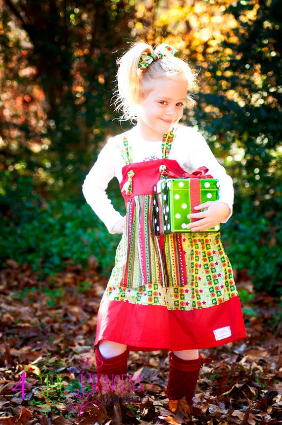 Items similar to christmas apron knot dress size 9 months 6 on etsy