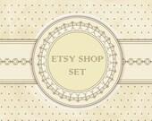 3- Piece Etsy Shop Banner Set Beige Victorian Grunge  No.76