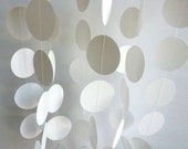 Wedding Garland, White Paper Circle Garland, Paper Garland, Baby Shower Decor, ALL WHITE, 10 ft. long