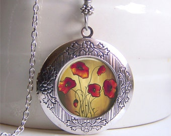 Locket Necklace, Silver Photo Locket, Red Poppies, Floral Necklace, Art Pendant