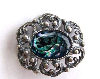 Vintage Brooch Abalone Ornate Openwork