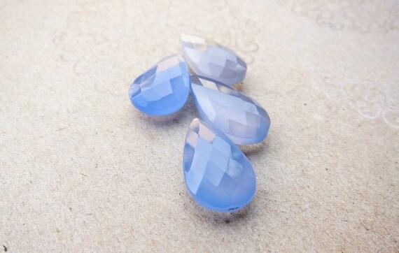 Blue Chalcedony Faceted Briolette. large pendant. (10mm x 15mm)  - 1 piece