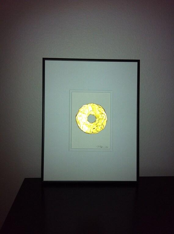 Framed Original Gold Modern Art 11x14 Total Size - Original metallic art - 5x7 linen paper, 11x14 matted original art