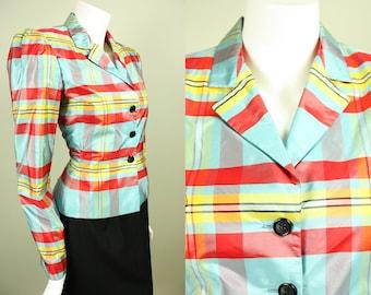 Vintage 1980s BILL BLASS BLAZER Jacket American Couture Designer Colorful Plaid Silk Taffeta Light Blue, Red, Yellow, Black, White, Buttons