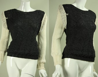Vintage 1980s ROBERTA & BRENDA Designer Unique Charcoal Gray Knit Sweater White Sleeves Woven Leather Shoulder Patches