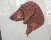 Dachshund Crossstitch Framed Picture