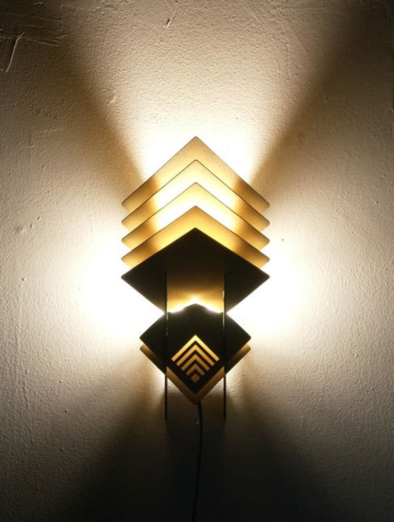 Wall Mounted Accent Lights : Items similar to C-Sconce Wall Mounted Lamp (brown/gold)- geometric wood sculpture accent ...