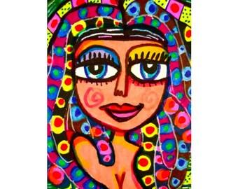 Egyptian Princess, Whimsical Girl Print, Colorful Print, Art For Girls, Girls Room Decor, Kids Wall Art, Egyptian Princess  by Paula DiLeo