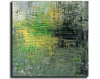 """Abstract Painting Original Art Abstract Painting, Acrylic Painting Green Painting Forest reflection  10""""x10"""" by Tatjana Gift for Her"""