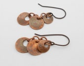 Copper Metal Clay Earrings, Copper Disk, Hammered, Made to Order