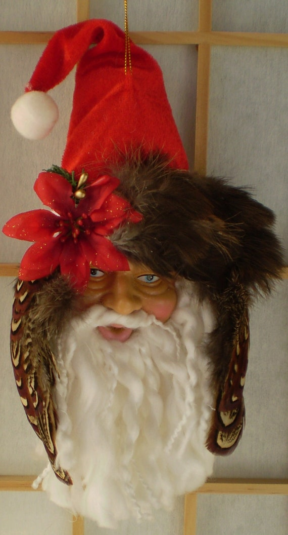 Santa Ornament / Christmas,  Handmade - Santa Head with Pheasant Feathers and Red Poinsettia, Beautiful and Unique
