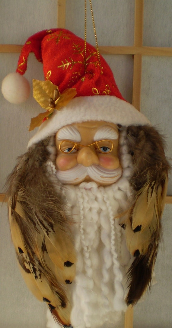 Santa Ornament / Christmas,  Handmade - Santa Head with Pheasant Feathers Gold Holly Leaf, Snowflake Hat, Beautiful and Unique