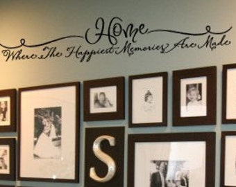 HOME Where the Happiest Memories are Made Family Home Vinyl Wall Lettering Decal 36wx8h