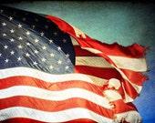 "BOGO SALE   Old Flag Tattered Red White and Blue Sky American Flag 8x12 Print ""Tattered Flag"""
