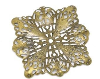 8pc antique bronze 47mm metal filigree center piece/wraps-5617