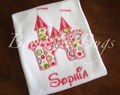 Adorable Princess Castle Applique Shirt for Girls With FREE Monogram - Perfect for a Birthday or Disney