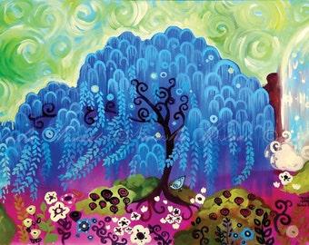 Blue Willow Folk Art TREE Print  Pop whimsical floral by Natasha Wescoat 8x10 12x16 13x19 16x20