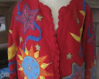 OmG - What an Incredible Cardigan Sweater from Gantos - Size Medium, Runs Large - Excellent, Vintage Condition