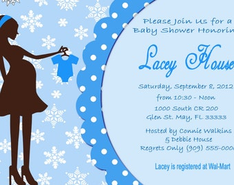 Winter Baby Shower Invites  Mom-to-Be Party Invitations Printable DIY