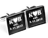 Square Custom Cuff Links, Personalized father of the bride wedding date cufflinks, Wedding cuff links