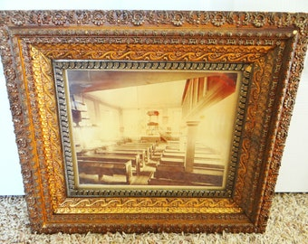 Vintage framed sepia toned photo, gelatin silver print, German church, circa 1940