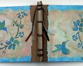 Tranquil Hummingbird Journal, Stab Bound Rustic Handmade Journal, Diary, Notebook, Sketchbook, Guestbook with Raised Textured Design
