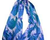 Large Blue and Silver Grey 100% Silk Hand Woven Ikat Scarf / Shawl / Table Runner with Fringe (65'' x 19'')