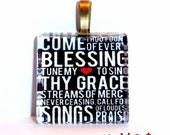Come Thou Fount of Every Blessing Glass Tile Pendant