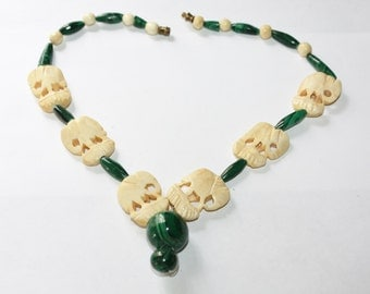 Malachite Necklace Celluloid Bead  Elephant 1950s Jewelry