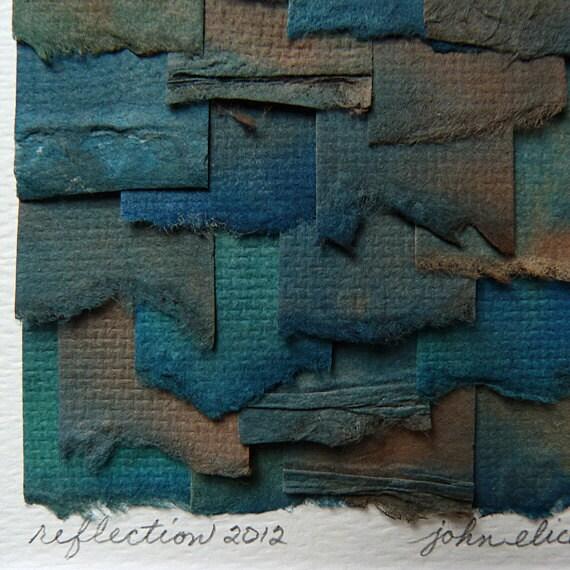 Blue Gray Brown Tones Create This Original Torn Paper Collage