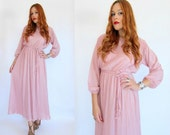 RESERVED for Amanda -- 70s Dusty Rose PLEATED DRAPE Maxi Dress M L