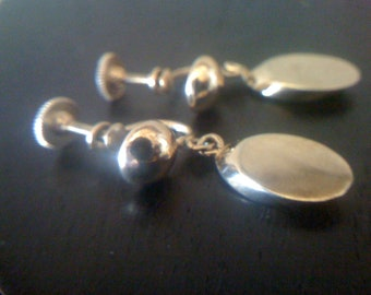 Chic Vintage 1970s Mod Gold Plated Dangle Drop Earrings