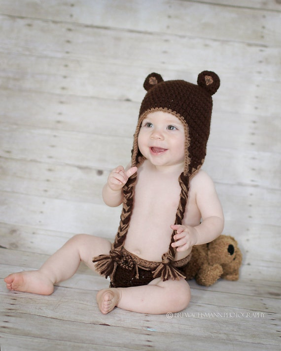 Teddy Bear Earflap Hat- Ready to Ship-Infant- 3 to 9 months-HAT ONLY