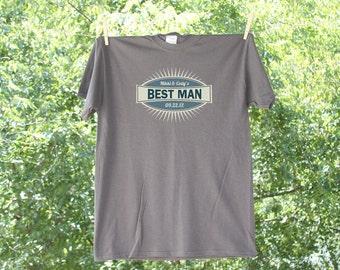 Best Man Wedding Party Shirt with Date // Blue Emblem // 12-15M
