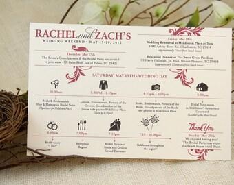 Wedding Timeline Red & Black Flourish Set of 30