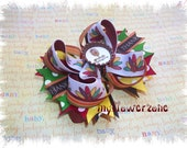 Thanksgiving Hair Bows - Fall Hair Bows- Bottle Cap Turkey Hair Bows - Gobble Hair Bows - Thanksgiving Stacked Boutique Hair bows - Layered