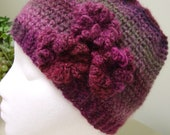 RESERVED FOR DEIDRE - Women's, teen's hat in varigated wine colors - flower embellishment - beanie